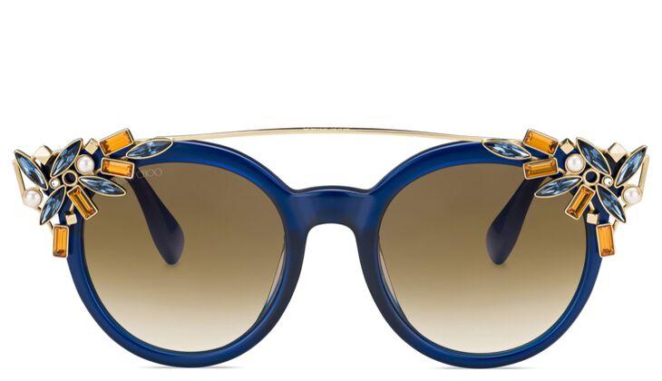 Blaue Sonnenbrille mit Strass von Jimmy Choo