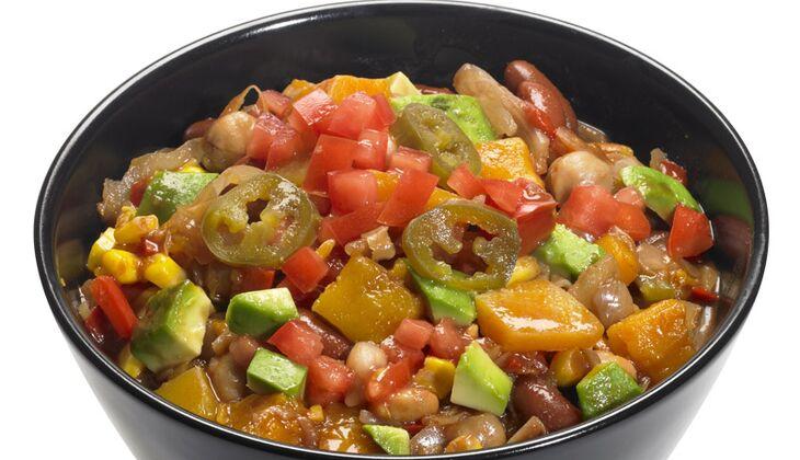 Chili mit Bohnen, Weißkohl und Kürbis
