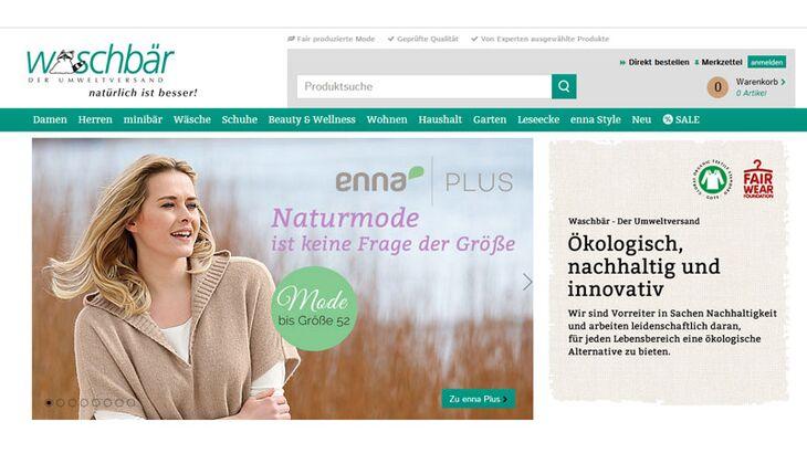Fair Trade Kleidung: Homepage von waschbaer.de