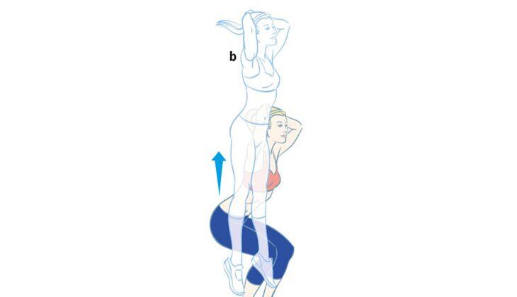 Kardiotraining: Kniebeuge-Sprung