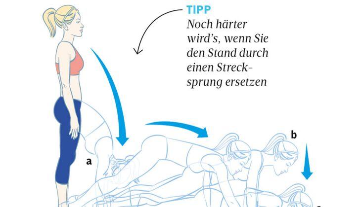 Kardiotraining: Vorbeuge-Liegestütz
