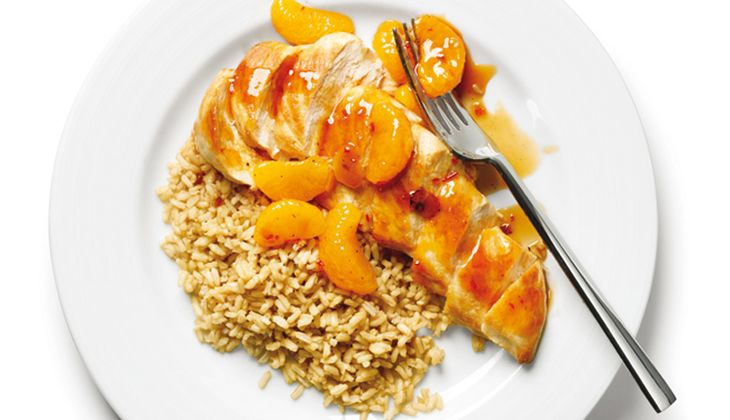 Mandarinenhuhn mit Grüntee-Reis