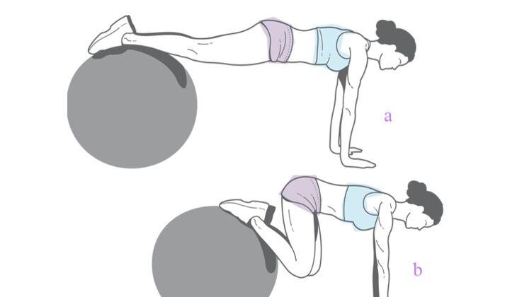 Nackt gut aussehen: Beinschieber auf dem Ball
