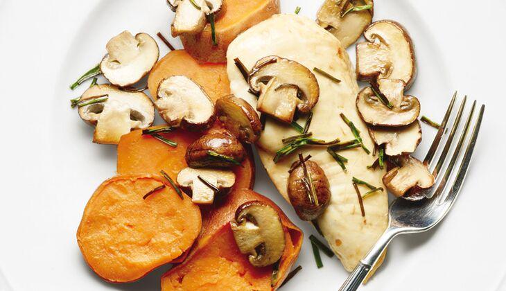 Ofenhähnchen mit Pilzen