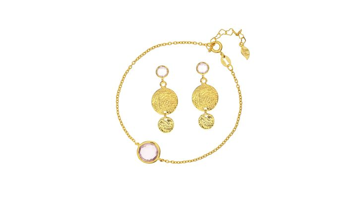 Rosenquarz Armband und Ohrringe von Leaf