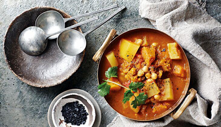Süßkartoffel-Curry mit Kürbis